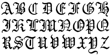 Since I can't figure out a way to actually use Gothic lettering in the article, here's a good example.