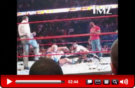 (From left) Vince McMahon, Big Show, Triple H and Batista prove the old adage, you can't have a birthday cake in wrestling without it going into someone's face.