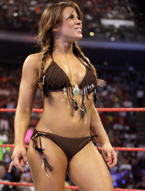 I'd like to know if Mickie James is scalped in her bikini bottoms.