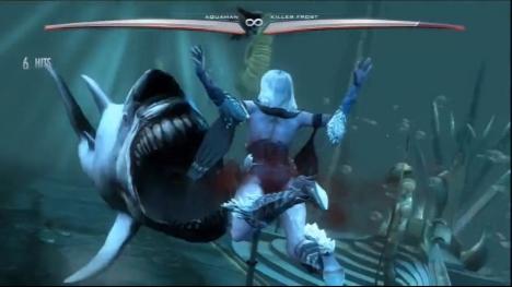 Aquaman invites an aquatic friend over for a bite.