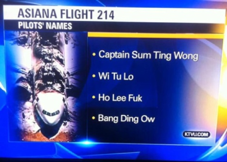 Asiana Flight Down Name Faux Paux