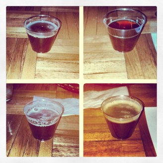 Full Pint Festivus, Brew Kettle Winter Warmer, Thirsty Dog 12 Dogs of Christmas and Oskar Blues Yule Chub (L to R, T to B)