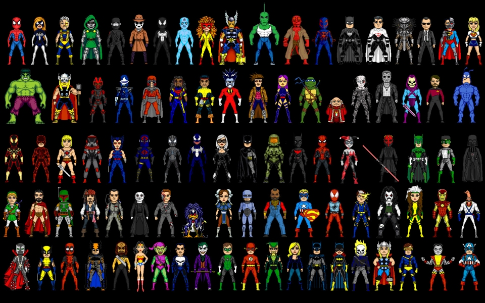 DC-Comics-Ghost-Rider-Marvel-Comics-comparisons-pixel-art-suit-superheroes
