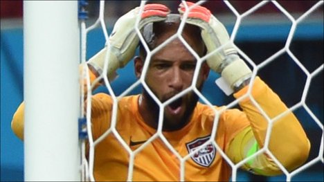 Tim Howard, US Goalkeeper, after a tying goal from Portugal. From AFP/Getty Images.